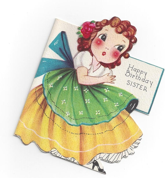Vintage Happy Birthday Sister Card 1940s UNUSED Crinoline