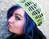 Web Slouchy/ Beanie/Tam/ Beret  - Crocheted , Spring, Summer, Open, Pistachio
