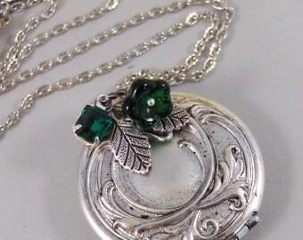 Emerald Maiden,Locket,Silver Locket,Flower,Green,Emerald,Irish,Antique Locket,Jewelry. Handmade jewelry by valleygirldesigns.