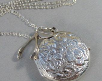 Wishbone Locket,,Locket,Silver Locket,Necklace,Sterling Silver Locket,Wishbone,Pearl,Wish,Wedding,Leaf. Jewelry by valleygirldesigns.