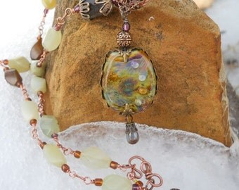 Filigree Wrapped Woodland LampWork Necklace