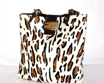 Vintage FENDI Handbag Leopard Pony Hair Tote -AUTHENTIC-