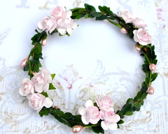 Pink, tangerine or cocoa baby girl halo circlet wreath.  Flower Girls, fairies, photo prop and birthday girls.