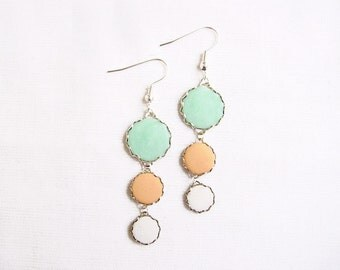 Pastel Statement Earrings,  Mint Peach White Earrings - Color Dot Collection - Handmade Polymer Clay Statement Earrings