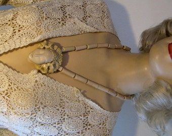 Vintage 1980s Art Nouveau Style Artist Signed Goddess Athena Necklace, Bone Ceramic Clay