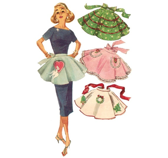 1950s Half Apron - Simplicity 1846 Vintage Pattern - One Size with Transfer - One Yard Apron