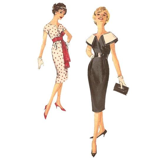 1950s Womens Wiggle Dress - Simplicity 2909 Vintage Pattern - Bust 34 Size 14 - Obi Belt Detachable Collar