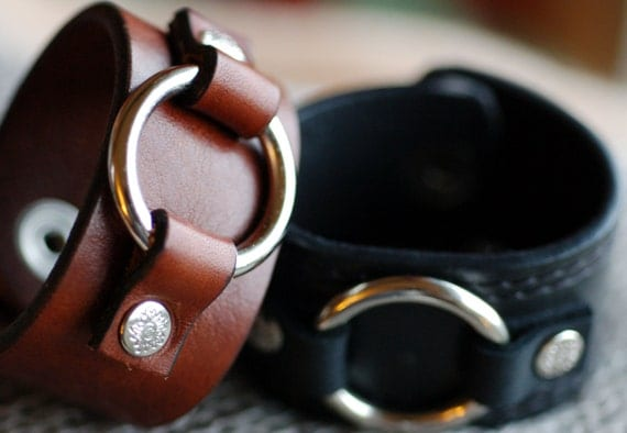 Brown Leather Cuff Bracelet with Center Ring