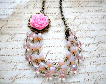 Pink Bridesmaid Necklace Pastel Bib Necklace Pink Flower Necklace Pink Statement Necklace Pastel Wedding Jewelry Pastel Pink Necklace