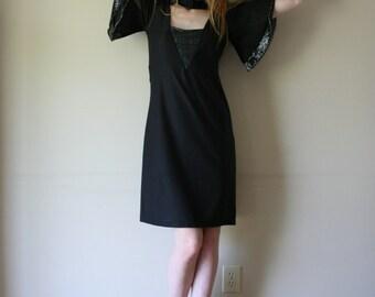 SALE Disco 70s Black Dress with Silver Lame' / Cut Out Dress Avant Garde / Tunic Dress / LBD / Little Black Dress / Size Medium med md 2-4-6