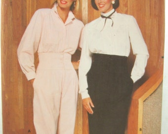 1980s Butterick 6181 Blouse and Pants Sewing Pattern Bust 36