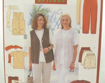 1990s Butterick 5056 Vest Jacket Pants and Shorts Sewing Pattern Size Large