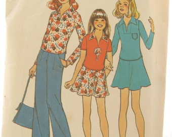 Simplicity 7107 Retro 1970s Collared Shirt Vintage Skirt Sewing Pattern Bust 30