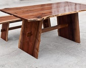 Live Edge Dining Table with Bench - Reclaimed Hardwood - Black Walnut - Locally sourced - Handmade in USA - Custom Furniture - Dining Set