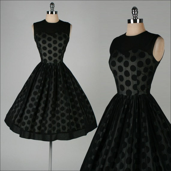 Vintage 1950s dress black chiffon illusion polka dot for Vintage sites like etsy