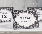 Printable Labels and Place Cards, Damask, Custom Colors, Editable PDF