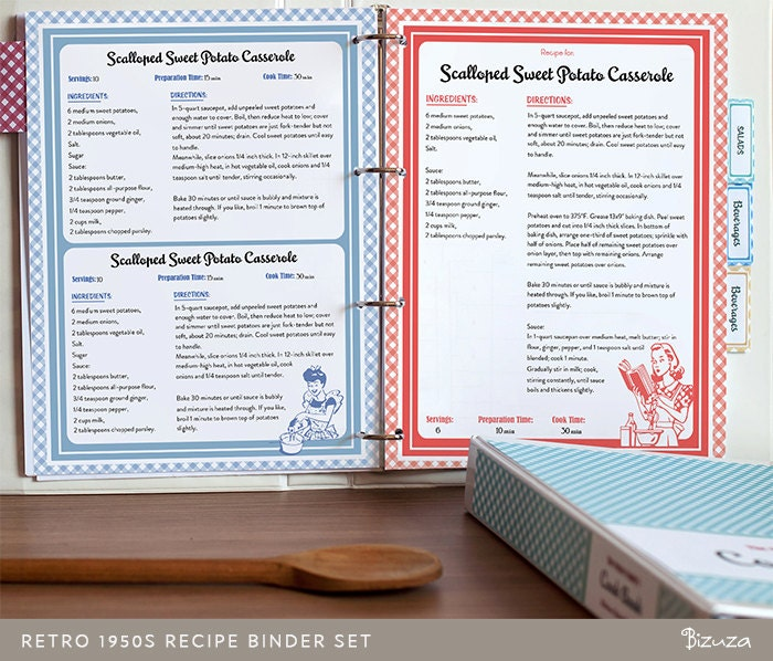 Recipe Book Binder Set Retro 1950s Style Printable by Bizuza