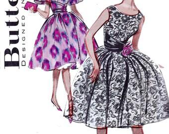 50s Full Skirt Dress Pattern Butterick 9139 Prom Dress & Cummerbund Vintage Sewing Pattern Size 16 Bust 36 Inches UNUSED Factory Folds