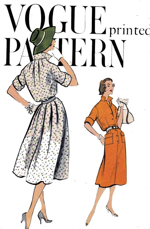 50s Shirt Dress Pattern Vogue 9434 Shirtwaist Dress with Collar Vintage Sewing Pattern Size 14 Bust 34 inches