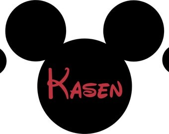 Mickey Mouse Ears Name PERSONALIZED 50x22 Vinyl Wall Lettering Words Quotes Decals Art Custom