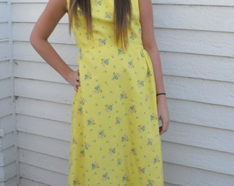 Yellow Floral Dress Maxi Vintage 1970s Hippie 70s Sleeveless Bold Bright S