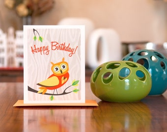 You're a Hoot - Orange & Yellow Owl Happy Birthday Card on 100% Recycled Paper