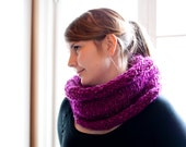 Infinity scarf knitted snood in purple with rolled edge. Hand knit chunky and warm circle scarf