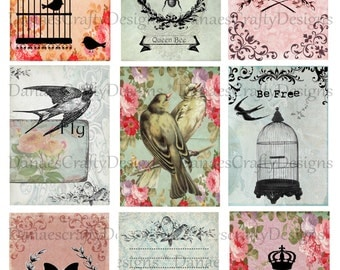 FLY AWAY - Birds n bees ATC Collage Sheet - Instant Digital Download - Bonus Sheet My Treat