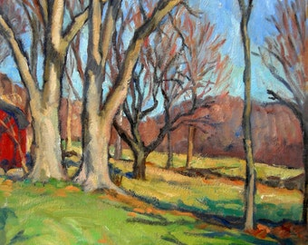 Oil Painting Landscape, Early Spring Trees. 18x14 Realist Oil on Canvas, American Impressionist Plein Air Fine Art, Signed Original