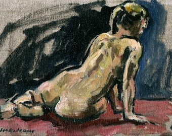 Twist, Female Nude. Original 6x9 Oil on Canvas, Small Classic Oil Figure Painting, Signed Original Fine Art