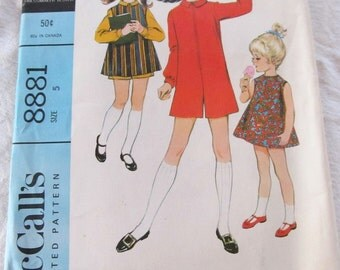 vintage McCALLS 8881 sewing pattern-- Girls Pantdress and Overdress or Dress  (size 5) --1967