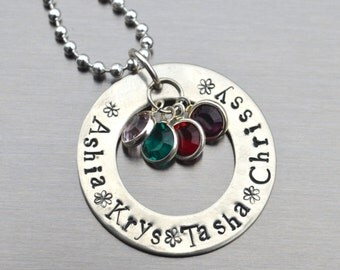 Personalized Mother's Day Necklace, Hand Stamped Jewelry, Custom Neckace, Mom, Mommy, Mother, Birthstone, Washer Necklace