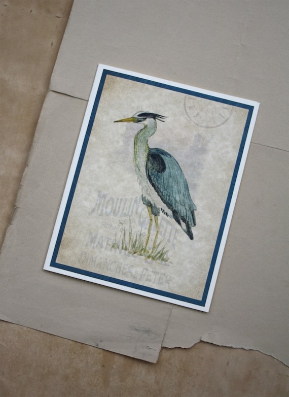 Heron. Great Blue Heron Handmade Watercolor Print Greeting Card Blank