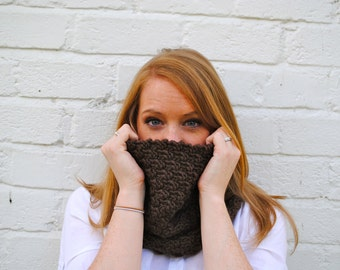 Dark Brown Cobh Cowl - Handmade Dark Brown Wool Knit Cowl