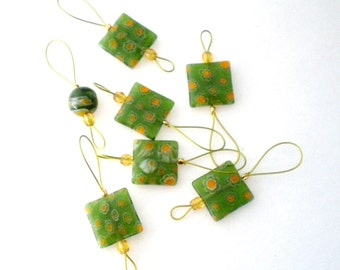 Knitting Stitch Markers - Set of 7 Handmade Bead Knitting Markers - Square Lemon Lime