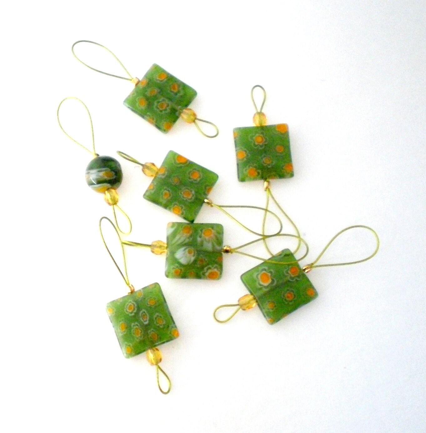 Knitting Stitch Markers Set of 7 Handmade Bead Knitting