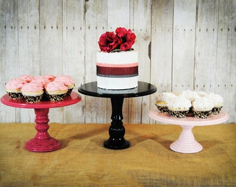 Set of 3 Rustic Pedestal Serving Cake Stands - Any color