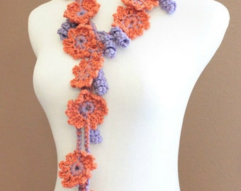 CROCHET PATTERN - Crochet Flower Lariat Pattern, Crochet Scarf Pattern, Easy Crochet Pattern, Beginner Crochet, Lariat Pattern