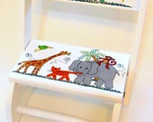 Personalized Chair or Stool Jungle Animals Elephant Giraffe Aligator