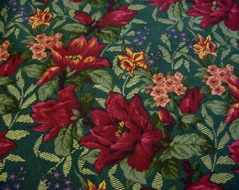 1.33 yd.Striking Cranberry Red Floral Vintage Cotton Quilt Fabric -Deep Spruce Green, Sage, Metallic Gold Accents - last piece