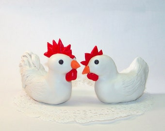Custom Chicken Wedding Cake Topper Birds - Rooster and Hen Sculptures - Fully Customizable