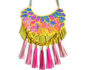Neon Galaxy Statement Necklace Nebula Geometric Hexagon Fringe Leather Jewelry