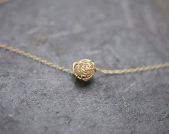 Gold Knot on gold necklace, love knot necklace, love knot, gold necklace
