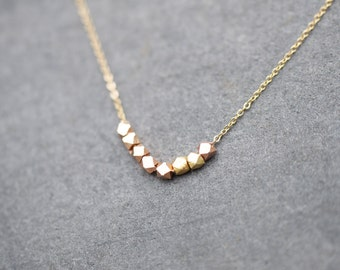 Gold nugget necklace on delicate gold chain, bridesmaid necklace, modern necklace, everyday necklace