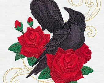 Gothic Raven & Roses on White Bathroom or Kitchen Hand Towel, Embroidered