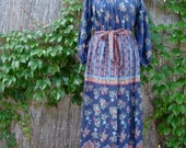 Vintage 60s / Calico / Maxi / Loungewear Dress / LARGE