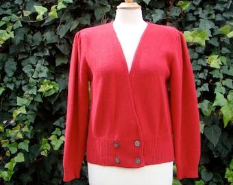 Vintage 80s / Red /  Dana Brooke / Puff Sleeve / Sweetheart Sweater / MEDIUM/LARGE