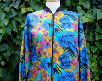 Vintage 80s / Bold Floral / Jacket / SMALL / MEDIUM