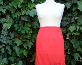 Vintage 50s / Red / Ribbon / Lace / Slip / Skirt / SMALL