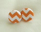 Button Earrings - Orange and White Chevrons - Handmade in USA